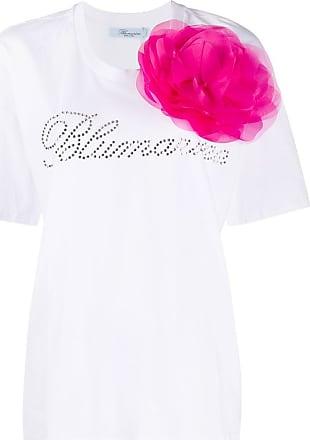 Blumarine Camisa mangas curtas com flor de mesh - Branco