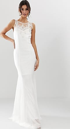 City Goddess Bruiloft - Lange jurk met fishtail en versiering-Wit