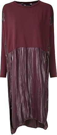 Uma Vestido midi Bello mangas longas - Vermelho