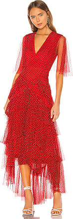 Bcbgmaxazria Tiered Polka Dot Gown in Red