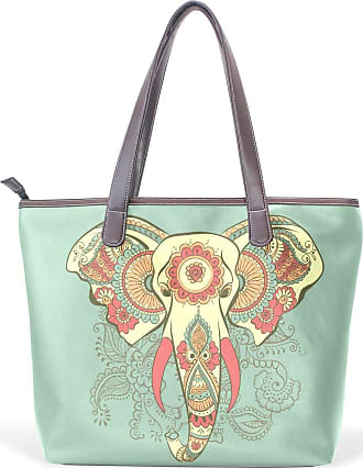 NaiiaN Tote Bag Light Weight Strap for Women Girls Ladies Student Mount Leather Abstract Floral Elephant Animal Indian Shoulder Bags Handbags Purse Shopping