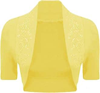 Islander Fashions Womens Beaded Shrug Short Sleeve Bolero Crop Cardigan Top Yellow Medium UK 12/14
