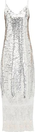 Erdem Arden Lace-trim Sequinned Slip Dress - Womens - Silver