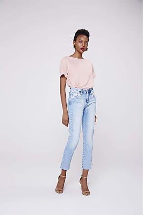 Damyller Calça Jeans Reta Cropped de Cintura Alta Tam: 34 / Cor: BLUE