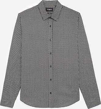 The Kooples Black classic-collar shirt with motif - MEN