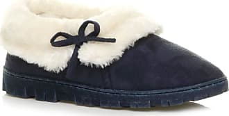 Ajvani Womens Ladies Winter Fur Lined Slip on Ankle Booties Slippers Size 5 38 Navy Blue