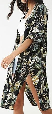 Forever 21 Forever 21 Leaf Print Side Slit Kimono Black/green