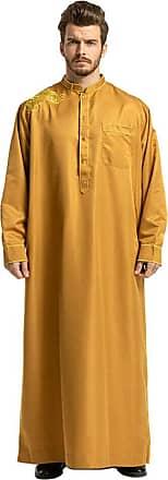 Zhuhaixmy Mens Muslim Kaftan Islamic Arabic Robes Long Sleeve Loose Jubba Thobe Dubai Ethnic Clothes Yellow