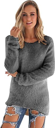 Isshe Womens Long Knitted Jumpers for Women Ladies Sweater Knitwear Knit Round Neck Long Sleeve Longline Jumper Casual Sweaters Warm Fitted Jumpers Autumn W