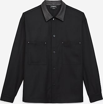 The Kooples Buttoned black wool shirt with leather collar - MEN