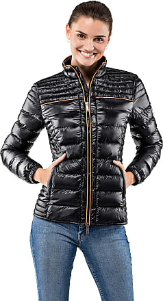 Vincenzo Boretti Womens Jacket Slim-fit Fitted Quilted Soft Long-Sleeve Lightweight Warm Smart Elegant Ladies Women Designer Padded Jacket Black XL