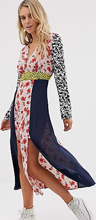 Glamorous Wadenlanges Kleid mit Schlitzen vorn und Mix-und-Match-Aufdruck-Mehrfarbig