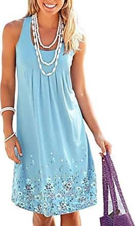 knielanges Bandeau Neckholder Kleid Minikleid Sommerkleid Loepard Blau