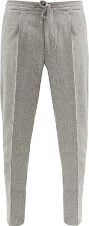 Incotex Pleated Wool-flannel Tapered-leg Trousers - Mens - Light Grey