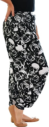 Nouvelle Collection New Womens Plus Size Harem Trousers Ladies Skull & Roses Print Cuffed Elasticated Pants Bottoms Flared Leg Black 20-22