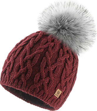 4sold Ladies Chunky Soft Cable Knit Handmade Woman Hat Cosy Fleece Liner and Bobble Faux Fur Pom pom (Debora Burgundy)