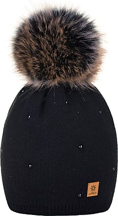 4sold Womens Ladies Winter Hat Wool Knitted Beanie with Large Pom Pom Cap SKI Snowboard Hats Bobble Gold Circle Stars Crystals (Black)