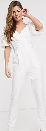 Asos Tall ASOS DESIGN Tall - Jumpsuit mit Puffärmeln und Schnürung hinten-Weiß