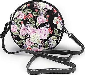 Turfed Flowers Print Fashion Round PU Crossbody Handbag Round Shoulder Bag For Women Girls