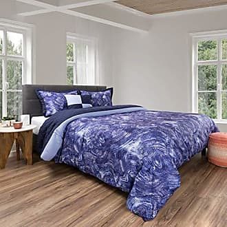 Trademark Comforter Set- 5 Piece Queen Bedding Set With 2 Decorative Pillows, 2 Shams and Whimsical Swirl Design By Bedford Home (Queen Size, Blue/Violet)
