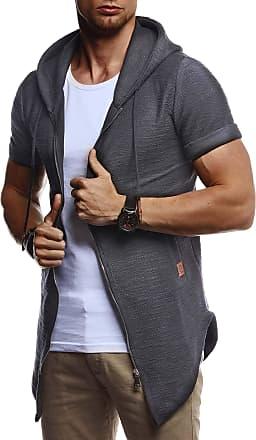 LEIF NELSON Mens Sweat Jacket Short Sleeve Hooded LN-8301 Anthracite Medium