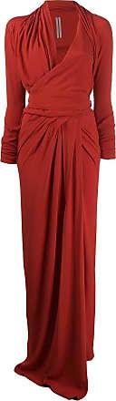 Rick Owens Vestido longo com drapeado - Vermelho