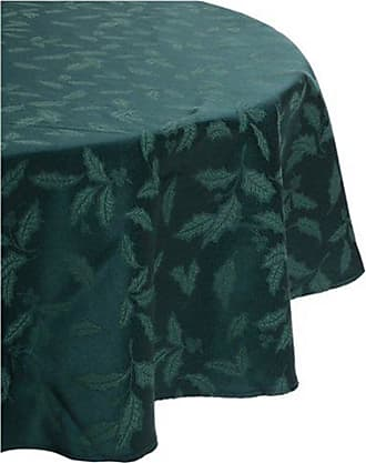 Lenox Holly Damask Tablecloth, 70-Inch Round, Green