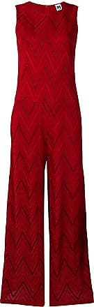M Missoni Macacão de tricô com detalhe zig zag - Vermelho