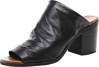 Inuovo Womens Slouchy Leather Block Heel Mules 8 Black