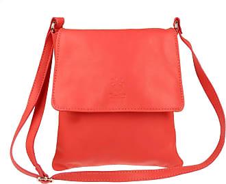 Girly HandBags Girly HandBags Genuine Soft Leather Italian Cross Body Shoulder Bag Flap Zipper (Coral)