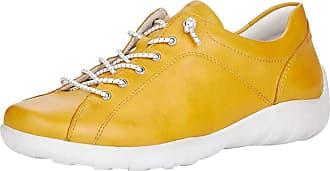 Remonte Women Lace-Up Flats R3515, Ladies Casual Trainer,Sneaker,Low Shoe,Street Shoe,Sneaker,Derby Lacing,Fashionable,Casual,Gelb,44 EU / 9.5 UK