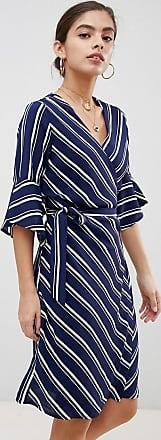 Unique21 Unique21 sleeve striped wrap front dress-Navy