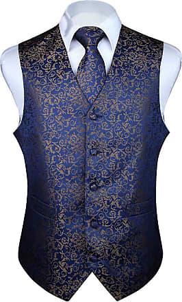 Hisdern Mens Floral Wedding Party Waistcoat Necktie Pocket Square Handkerchief Jacquard Vest Suit Set, Navy Blue, 4XL(Chest size 57 inch)