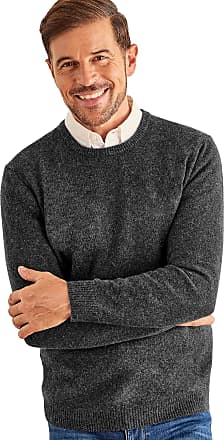 WoolOvers Mens Lambswool Crew Neck Jumper Charcoal, XXL