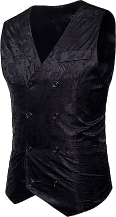 Whatlees Mens Slim fit Jacquard Smoking Vest with Glittering Paisley Pattern