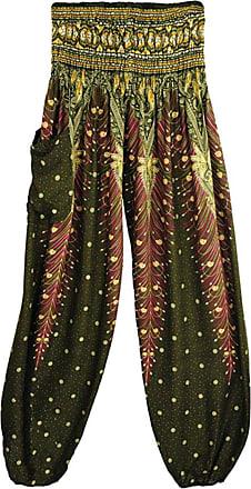junkai Unisex Yoga Boho Hippy Pants Thai Peacock Print Floral Pattern Harem Trousers Smock High Waist Bloomers Dark Green
