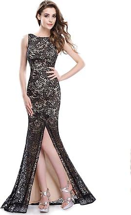 Ever-pretty Womens Elegant Unique Side Slit V Neck Back Mother of The Bride Dress Gowns 18UK Black