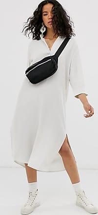 Weekday Kragenloses Hemdkleid in gebrochenem Weiß-Beige