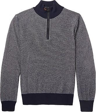 Berluti Slim-fit Leather-trimmed Cashmere Half-zip Sweater - Navy