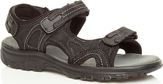 Ajvani Mens Low Heel Flat Genuine Leather Hook & Loop Strap Adjustable Sandals Size 8 42 Black