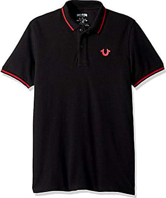 cf6822bb True Religion Mens Crafted with Pride Polo, Black with red Piping, M