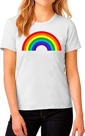 Crazy Girls Ladies Short Sleeve T-Shirt Womens NHS Rainbow Colors Printed Tee Top (8-10, White)