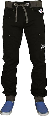 True Face Mens Cargo Combat Trousers Elasticated Chino Ribbed Hem Joggers Bottoms Black 38R