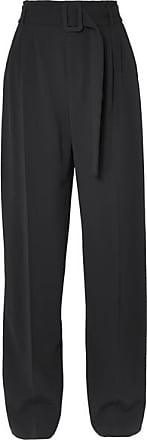 Off-white Belted Crepe Straight-leg Pants - Black