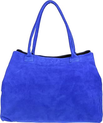 Girly HandBags Girly HandBags Expandable Italian Suede Leather Shoulder Bag (Royal Blue)