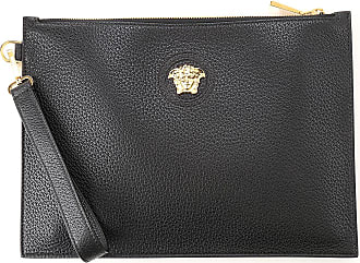 Versace Pouches On Sale, Black, Leather, 2019