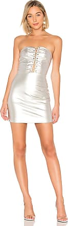 by the way. Minka Lace Up Tube Dress in Metallic Silver