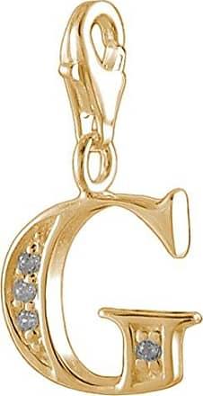 MELINA Charm Anhänger Buchstabe M Silber 925 Zirkonia vergoldet Gelbgold