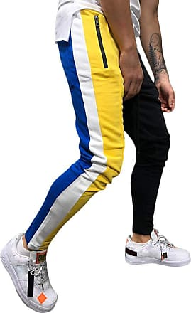 TOMWELL Mens Cargo Trousers Slim Fit Jeans Combat Skinny Elasticated Waist Drawstring Chinos Pants Slack Bottoms Yellow X-Small