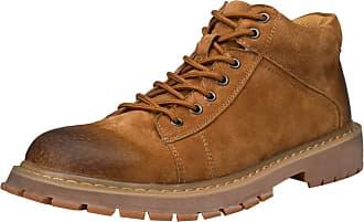 Insun Mens Padded Collar Plain Toe Oxford Boot High-top Brown UK 10.5